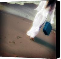 Barefoot Canvas Prints - Girl With Suitcase Canvas Print by Joana Kruse