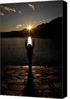 Lago Canvas Prints - Girl With Sunset Canvas Print by Joana Kruse