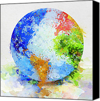Abstract Map Digital Art Canvas Prints - Globe Painting Canvas Print by Setsiri Silapasuwanchai