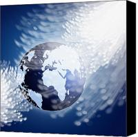 Future Tech Canvas Prints - Globe With Fiber Optics Canvas Print by Setsiri Silapasuwanchai