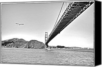 Black And White Pyrography Canvas Prints - Golden Gate Bridge Canvas Print by John Scharle