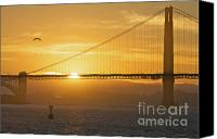 Golden Gate Canvas Prints - Golden Gate Dusk Canvas Print by Mars Lasar