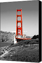 Red And White Canvas Prints - Golden Gate Canvas Print by Greg Fortier