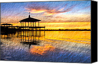 Florida Bridge Canvas Prints - Golden Hour Canvas Print by Debra and Dave Vanderlaan