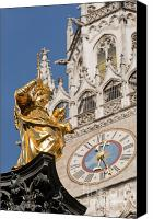 Rathaus Photo Canvas Prints - Golden statue of virgin Mary Canvas Print by Andrew  Michael
