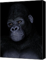 Gorilla Painting Canvas Prints - Gorilla Portrait Canvas Print by Maynard Ellis