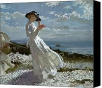 Reading Painting Canvas Prints - Grace reading at Howth Bay Canvas Print by Sir William Orpen