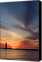 Lake Michigan Canvas Prints - Grand Haven Lighthouse Canvas Print by Adam Romanowicz
