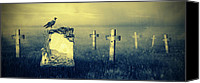 Creepy Digital Art Canvas Prints - Gravestones in moonlight Canvas Print by Jaroslaw Grudzinski