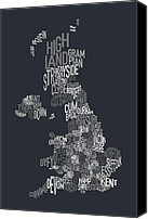 Text Map Canvas Prints - Great Britain County Text Map Canvas Print by Michael Tompsett