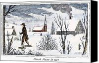 Colonial Man Canvas Prints - Great Snow Of 1717 Canvas Print by Granger