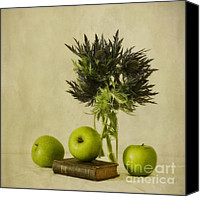 Vase Canvas Prints - Green Apples And Blue Thistles Canvas Print by Priska Wettstein