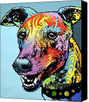 Dean Russo Mixed Media Canvas Prints - Greyhound LUV Canvas Print by Dean Russo