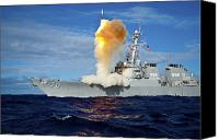 Naval Warfare Canvas Prints - Guided Missile Destroyer Uss Hopper Canvas Print by Stocktrek Images