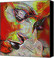 Girl Digital Art Canvas Prints - H3ad Sh0ts 2 Canvas Print by Byron Fli Walker