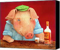 Pig Painting Canvas Prints - Ham on rye... Canvas Print by Will Bullas