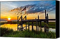 Florida Bridge Canvas Prints - Happy Hour Canvas Print by Debra and Dave Vanderlaan