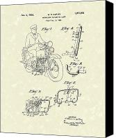 William Drawings Canvas Prints - Harley Motorcycle 1934 Patent Art Canvas Print by Prior Art Design