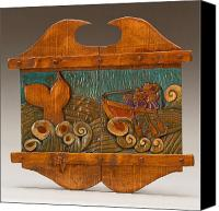Folk Art Woodcarving Reliefs Canvas Prints - Harpooning the Whale Canvas Print by James Neill