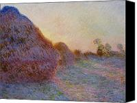 Setting Canvas Prints - Haystacks Canvas Print by Claude Monet