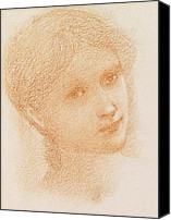 Ladies Drawings Canvas Prints - Head Study of a Girl Canvas Print by Sir Edward Burne-Jones
