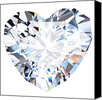 Isolated Jewelry Canvas Prints - Heart Diamond  Canvas Print by Setsiri Silapasuwanchai
