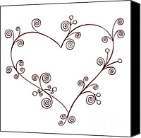 Deco Drawings Canvas Prints - Heart Canvas Print by Frank Tschakert