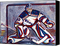New York Rangers Painting Canvas Prints - Henrik Lundqvist  Canvas Print by Steve Benton