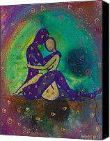 Couple Painting Canvas Prints - Her Loves Embrace Canvas Print by Ilisa  Millermoon