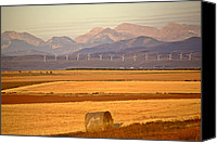Alberta Landscape Canvas Prints - High Plains of Alberta with Rocky Mountains in distance Canvas Print by Mark Duffy