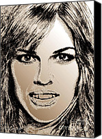 Famous Mixed Media Canvas Prints - Hilary Swank in 2007 Canvas Print by J McCombie