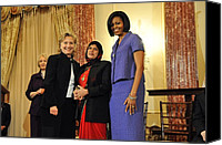 Bswh052011 Canvas Prints - Hillary Clinton And Michelle Obama Canvas Print by Everett