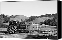 Old Caboose Canvas Prints - Historic Niles Trains in California . Southern Pacific Locomotive and Sante Fe Caboose.7D10819.bw Canvas Print by Wingsdomain Art and Photography
