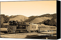 Old Caboose Canvas Prints - Historic Niles Trains in California.Southern Pacific Locomotive and Sante Fe Caboose.7D10819.sepia Canvas Print by Wingsdomain Art and Photography