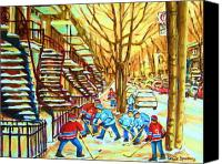 Quebec Painting Canvas Prints - Hockey Game near Winding Staircases Canvas Print by Carole Spandau