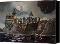 Night Canvas Prints - Hogwarts Castle Canvas Print by Tim Loughner