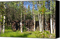 Log Cabins Canvas Prints - Home Sweet Home Canvas Print by Cynthia  Cox Cottam