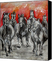 Vatercolour Canvas Prints - Horse Racing Canvas Print by Sanja  Prsic
