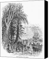 Indian Canoe Canvas Prints - Hudson River, 1609 Canvas Print by Granger