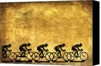 Figures Canvas Prints - Illustration of cyclists Canvas Print by Bernard Jaubert