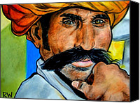 Portraits Of Men Pastels Canvas Prints - Indian Man Canvas Print by Rachel Wallace