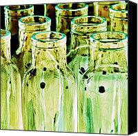 Impressionism Digital Art Canvas Prints - Iridescent bottle Parade Canvas Print by Heiko Koehrer-Wagner