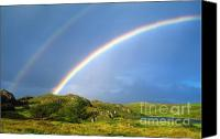 Rolling Hills Canvas Prints - Irish Double Rainbow Canvas Print by John Greim