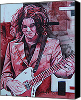 White Drawings Canvas Prints - Jack White Canvas Print by Joshua Morton