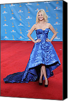 Satin Dress Canvas Prints - January Jones Wearing An Atelier Canvas Print by Everett