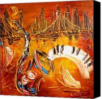 Winter Prints Painting Canvas Prints - Jazz City Canvas Print by Mark Kazav