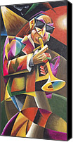 Saxaphone Painting Canvas Prints - Jazz Horn Canvas Print by Bob Gregory