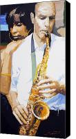 Portret Canvas Prints - Jazz Muza Saxophon Canvas Print by Yuriy  Shevchuk