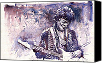 Hendrix Canvas Prints - Jazz Rock Jimi Hendrix 03 Canvas Print by Yuriy  Shevchuk