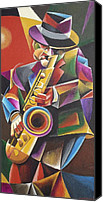Saxaphone Painting Canvas Prints - Jazz Sax Canvas Print by Bob Gregory
